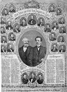Bild 007: Gedenkblatt zum Einigungsparteitag 1875 [Archiv der Sozialen Demokratie Fotoarchiv]