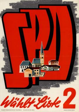 Lexikon Bild 089: SPD-Plakat zu den Kommunalwahlen 1956 [Archiv der Sozialen Demokratie]