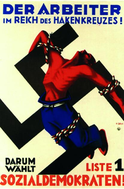"""Bild 034: Plakat """"Der Arbeiter im Reich des Hakenkreuzes"""" [Archiv der Sozialen Demokratie]"""