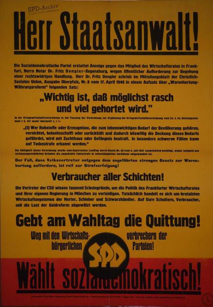 Dokumente Bild 134: Wahlplakat der SPD 1948 [Archiv der Sozialen Demokratie]