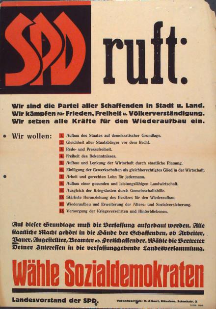 Dokumente Bild 121: Wahlplakat der SPD 1946 [Archiv der Sozialen Demokratie]