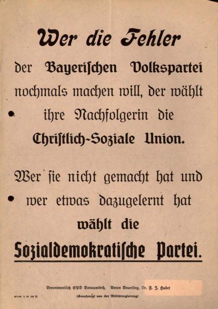 Dokumente Bild 111: Wahlplakat der SPD 1946 [Archiv der Sozialen Demokratie]