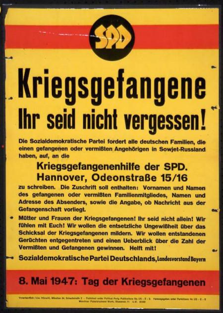Dokumente Bild 129: Wahlplakat der SPD 1947 [Archiv der Sozialen Demokratie]