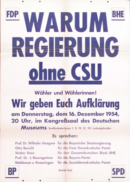 Dokumente Bild 137: Wahlplakat der SPD 1954 [Archiv der Sozialen Demokratie]