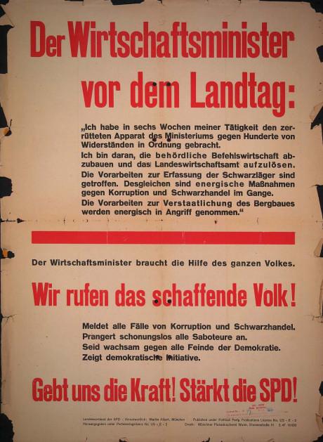 Dokumente Bild 132: Wahlplakat der SPD 1947 [Archiv der Sozialen Demokratie]